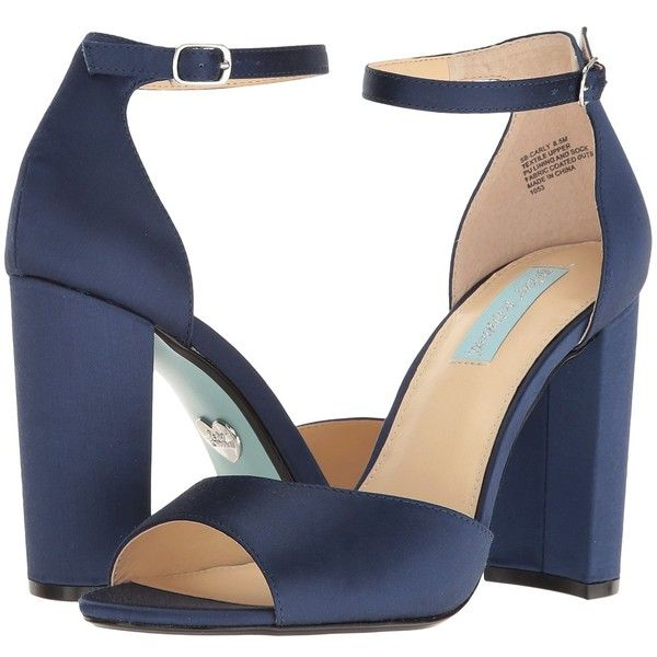Blue by Betsey Johnson Carly (Navy Satin) High Heels ($89) ❤ liked on Polyvore featuring shoes, chunky high heel shoes, betsey johnson, navy blue satin shoes, open toe shoes and navy satin shoes