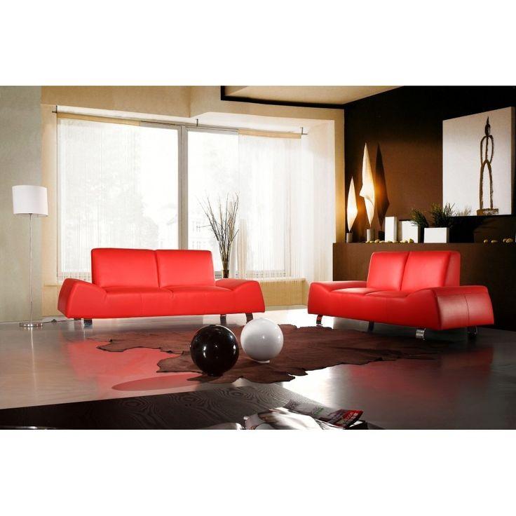 Divani Casa 120 Red Leather Sofa Set
