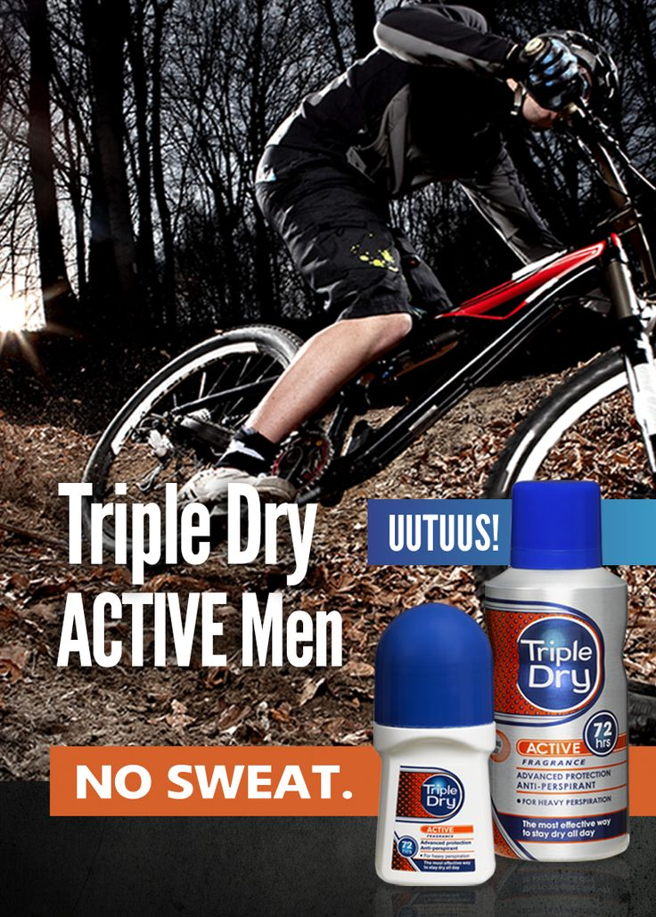 UUTUUS! Triple Dry ACTIVE Men -antiperspiranteissa on käytetty uutta Odour counteracting -teknologiaa, jonka ansiosta tuotteen vaikutus tehostuu kehon hikoillessa, esimerkiksi kuntoilun aikana.
