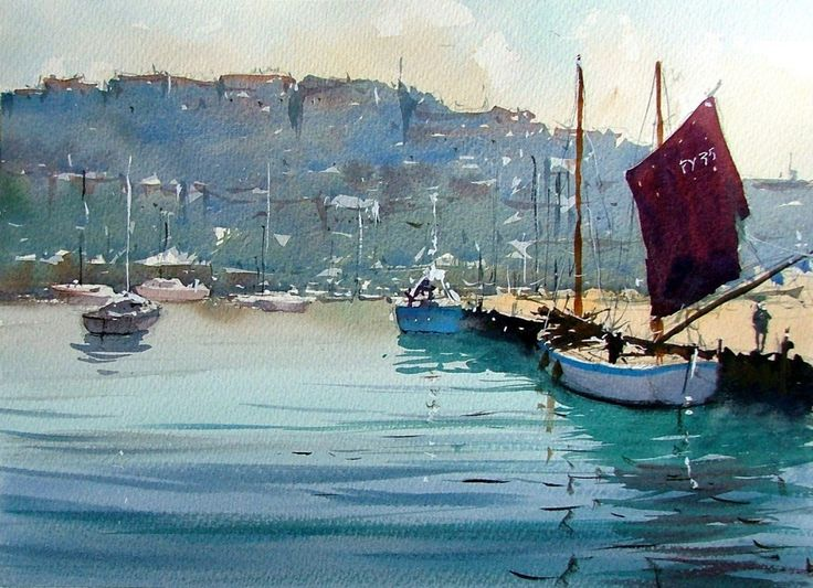 Original watercolour painting Brixham Town From The Harbour by Tim Wilmot (watercolor)