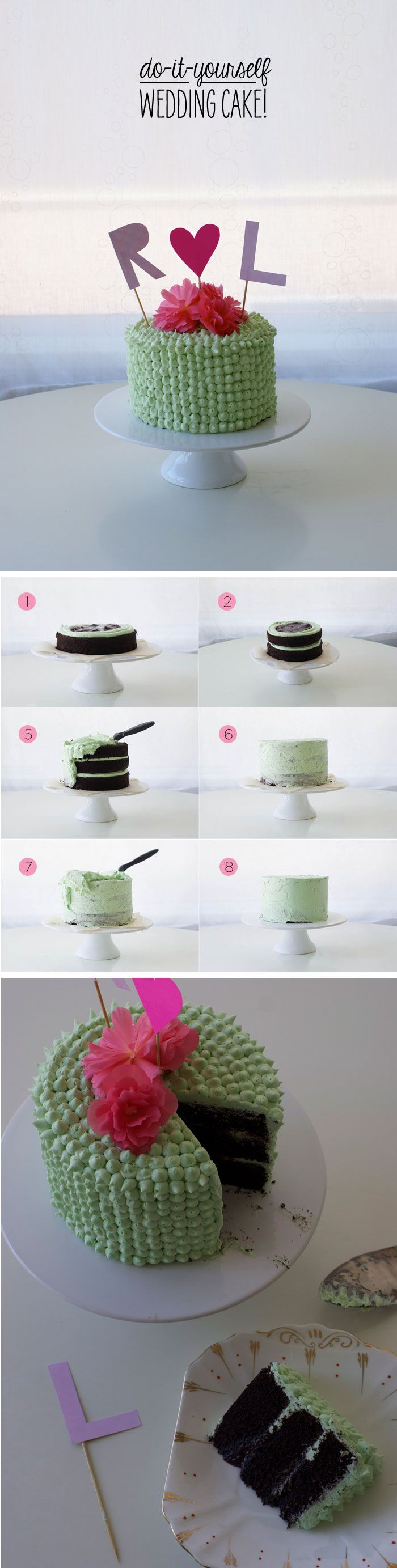 Do-it-yourself Wedding Cake! Make your best friend's (or even your own) wedding cake with this simple decorating tutorial #DIY #Wedding #Cake  (By Lyndsay Sung of Coco Cake Land for Poppytalk).