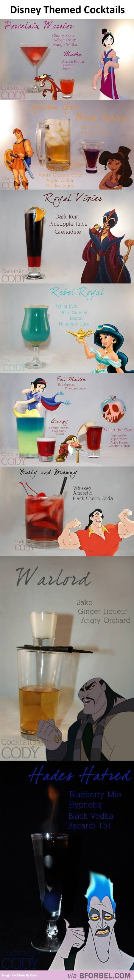 Disney inspired Alcoholic Beverages