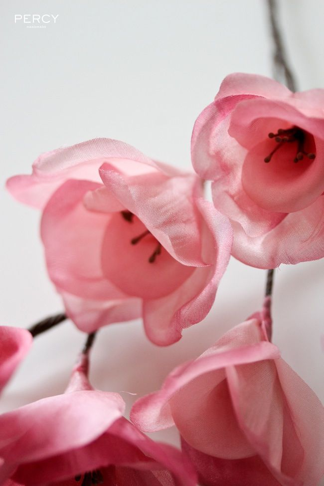 26 best handmade flowers images on pinterest fabric flowers handmade with love hand dyed pink magnolia flowers made from scratch using plain white silk fabric mightylinksfo