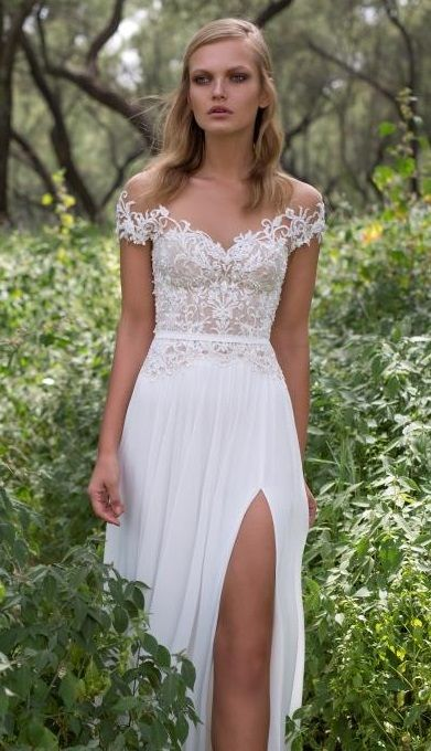Iris - Limor Rosen Off the shoulder dress with a lace bodice and side split