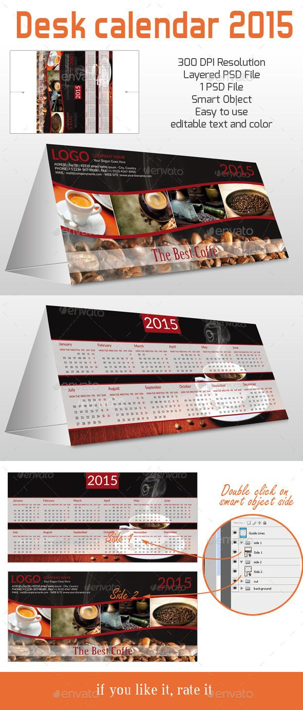 Desk Calendar for 2015 ready for print Template | Buy and Download: http://graphicriver.net/item/desk-calendar-for-2015-ready-for-print/9804291?ref=ksioks