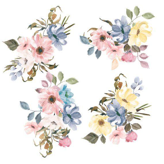 Sara Pastel Colors Watercolor Flowers Watercolor Floral Etsy Watercolor Flowers Clip Art Digital Flowers