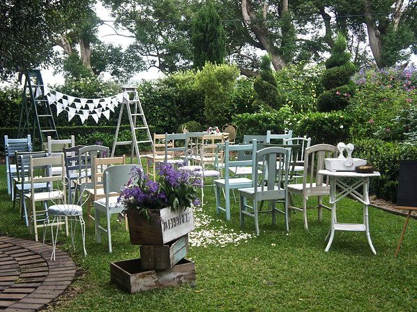 Ready For A Wedding Ceremony, Using Vintage Patina Chairs, Arch And Other  Props