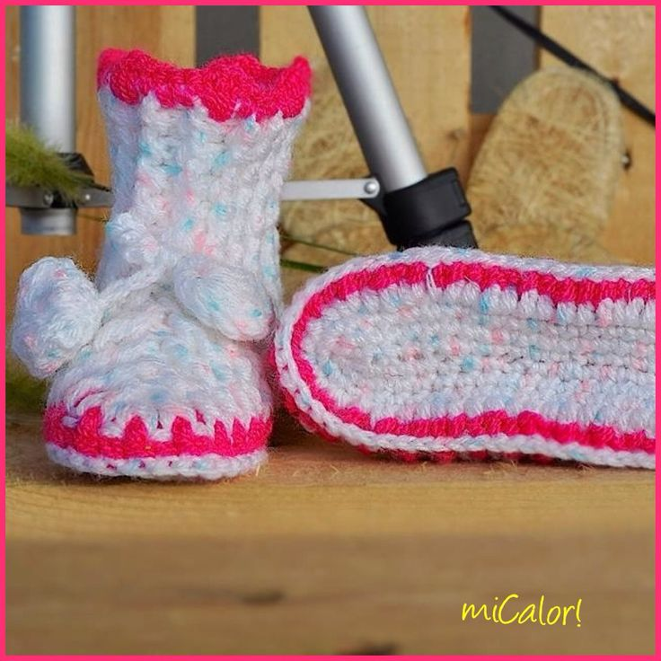 Crochet Baby Girl Booties by miCalorKnits on Etsy