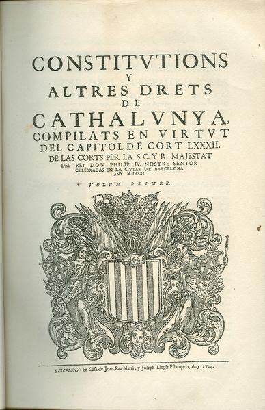"""I molts em diran : Per què dius """"Cathalunya""""??? .... i jo els hi diré: Guaiteu la Portada de les nostres Constitucions del Principat de Catalunya d'abans del 1714."""