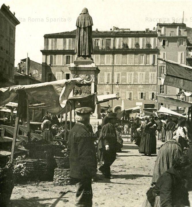 Foto storiche di Roma - Il mercato di Campo de' Fiori 1900