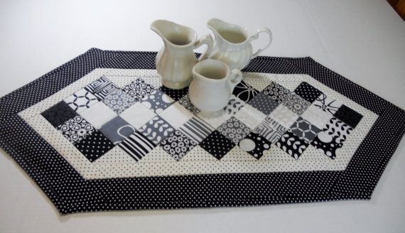Black and White Contemporary Quilted Table by ForgetMeNotQuilteds, $36.00