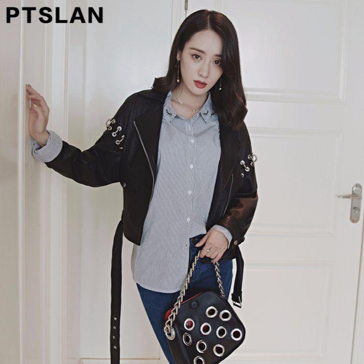 Ptslan Fashion Leather Jacket Women Classic Short Female Leather Jacket Locomotive Style Women's Sheepskin Coat