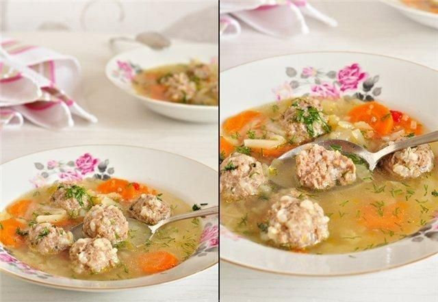 Soup with meatballs and vegetable