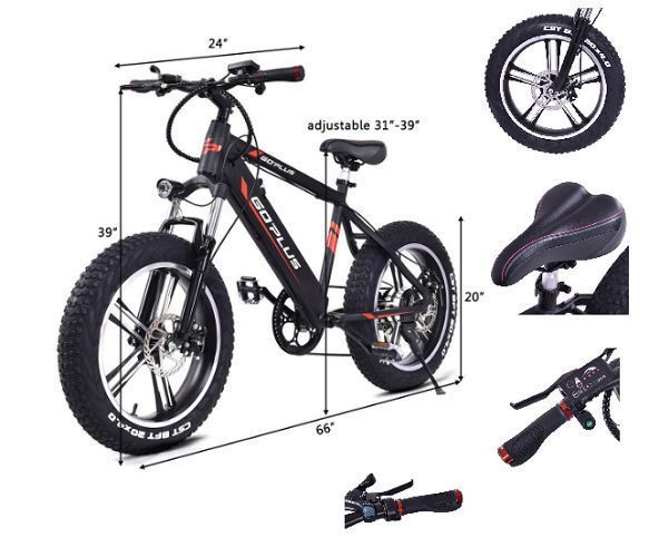 Electric Fat Tire Bike Mountain Snow Bicycle E-Bike Lithium Battery 6 Speed 350W #ElectricFatTireBikeMountain