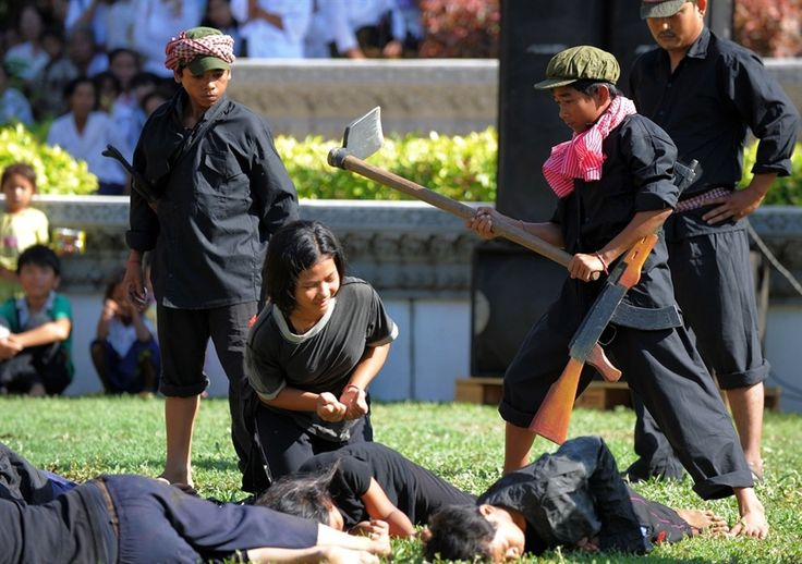 One of the more unusual and challenging forms of re-enactment: Cambodians re-enact Khmer Rouge massacre on 'Day of Anger'