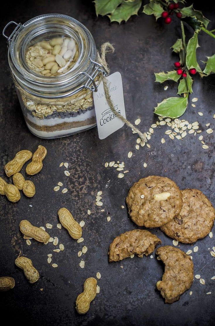 Preparato per cookies al cioccolato, fiocchi d'avena e arachidi #regali di Natale homemade