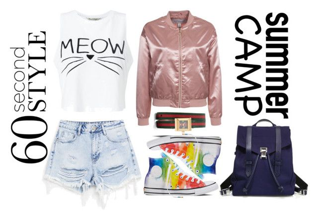 """""""Summer Camp"""" by ratihasmarani on Polyvore featuring Miss Selfridge, NLY Trend, Converse, Proenza Schouler, Gucci, bomberjacket, denimshorts, summercamp and 60secondstyle"""