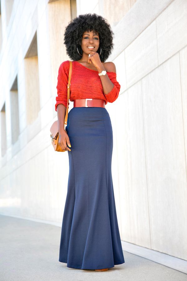 Style Pantry | Off Shoulder Rust Sweater + Mermaid Style Maxi Skirt