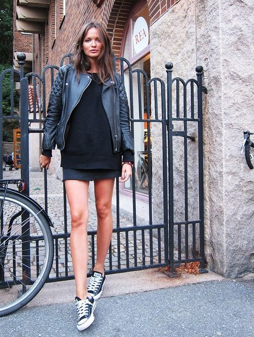 casual cool. Black, skirt, leather jacket, converse sneakers, chucks
