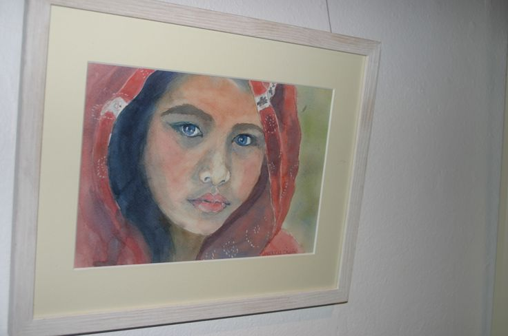 51. Peshwari Girl, Watercolour, €95 (Sold) by Anastasia O'Keeffe