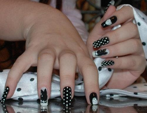8 best playboy bunny nail designs images on pinterest make up black w dots n playboy bunny prinsesfo Image collections