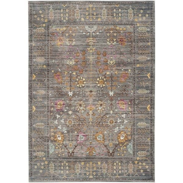 Safavieh Valencia Grey Multi Distressed Silky Polyester Rug 8 X 10