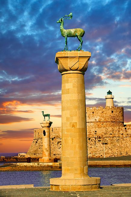 Columns with deer at the entrance to Madraki, the archaic naval docks. Rhodes, Greece. UNESCO World Heritage Site