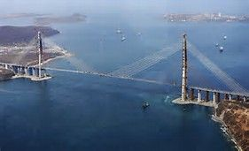 "RUSSIA'S RUSSKY BRIDGE: $1 BILLION You've just seen the ""Gateway to Nowhere."" This bridge in Eastern Russia could easily be labeled the ""Bridge to Nowhere."" Crossing the Eastern Bosphorus Strait, Russky Bridge connects the city of Vladivostok to the island of Russky, which has a population of just 5,000."