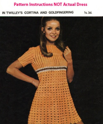 Crochet Pattern for 60s mini dress vintage retro