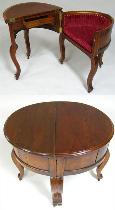 An ingenious Victorian Metamorphic Combination Table, Desk, and Chair (shown open and closed) was made of oak around the 1850s, after a design by Stephen Hedges. Other similar examples are housed in museums in New York and New Orleans.: