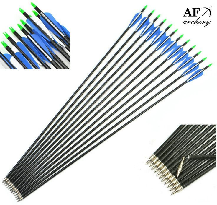 12pcs,32 Inch(82cm),Spine 500,Blue White Target Practice Steel Point Archery Fiberglass Arrows for Hunting Compound &Recurve Bow