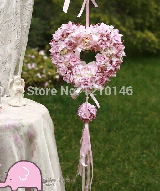 2014 свадебные ну вечеринку поставляет - 28 см сад искусственный роуз в форме сердца цветок венки висит украшения