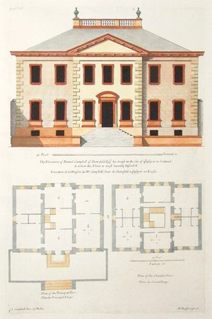 The Elevation of Daniel Campbell of Shawfield Esqr. his house in the City of Glasgow in Scotland to whom this Plate is most humbly Inscrib'd. by Henry Hulsberg after Colen Campbell