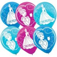 Cinderella Sparkle Party Latex Balloons 30cm Pkt6 $8.95 A119664
