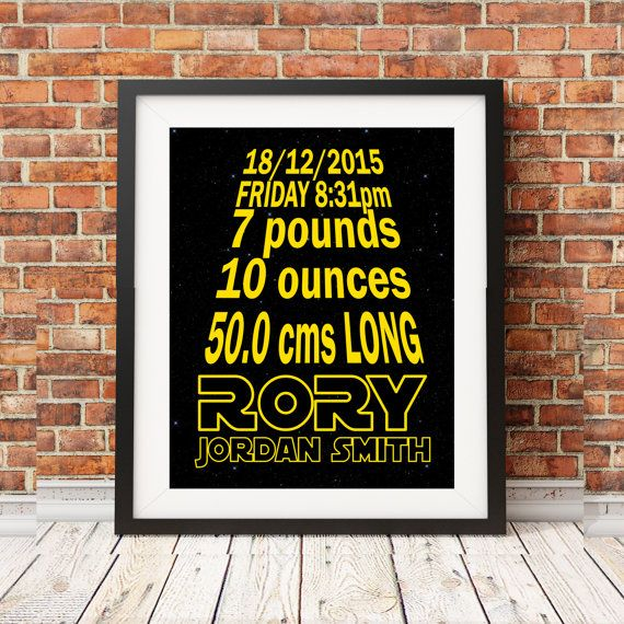 Hey, I found this really awesome Etsy listing at https://www.etsy.com/listing/252557680/star-wars-birth-stats-baby-nursery-art