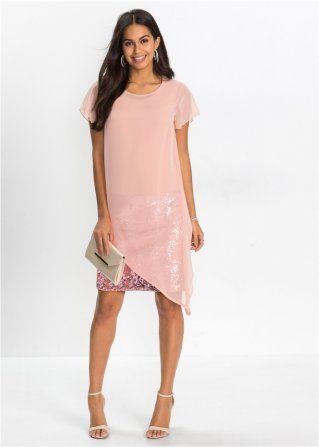 4b11aaa5f3d0 Koktejlové šaty z žerzeje s pajetkami růžová vintage - BODYFLIRT -  bonprix.cz