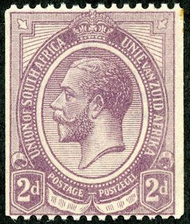 """Union of South Africa  1921 Scott 20 2d dull violet """"George V"""" Coil Stamp - Perf 14 Horizontally"""