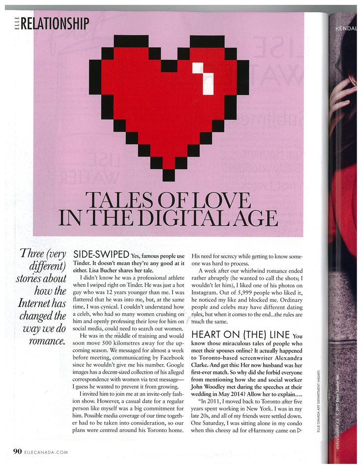 Tales of Love in the Digital Age Elle Canada November 2015