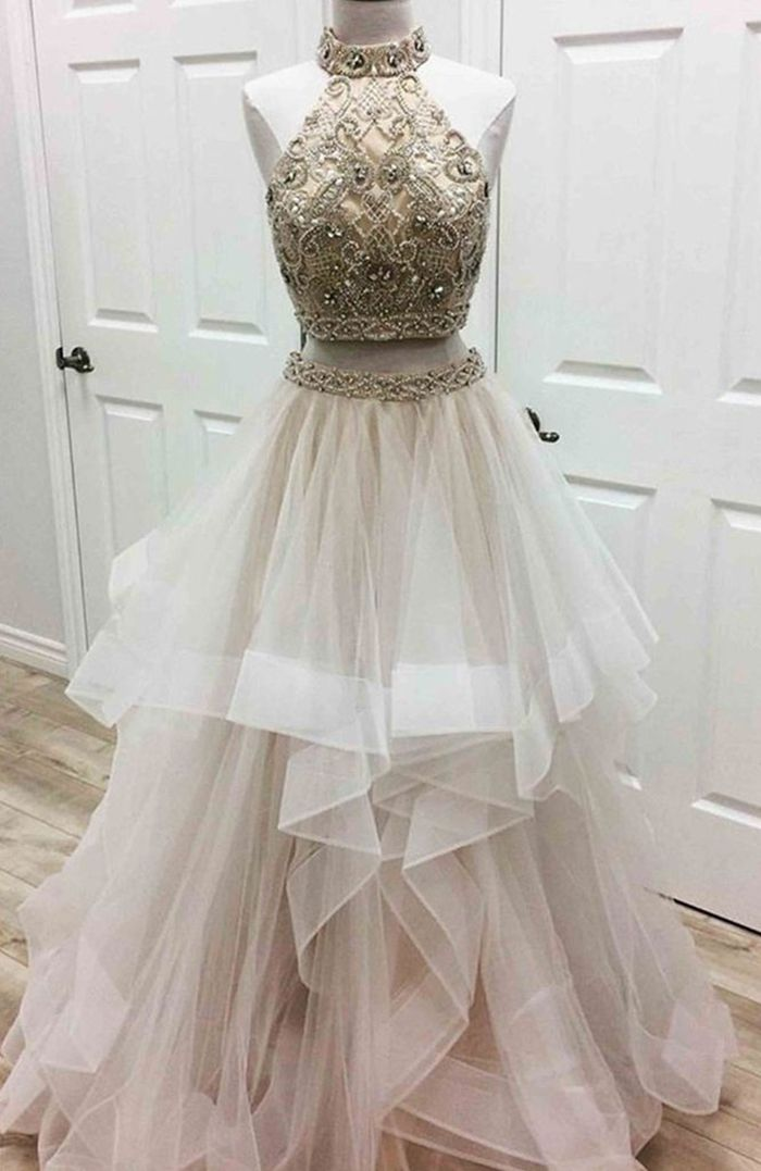 two piece prom dresses,tulle prom dresses,prom dresses for teens,beaded prom dresses,unique prom dresses
