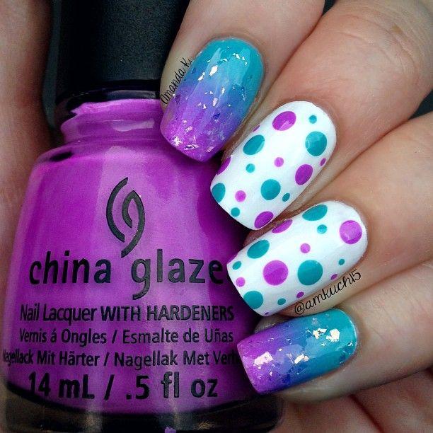 #Purple and #Aqua #polka_dot nails nailart