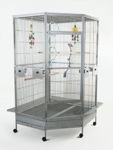 Liberta Raleigh Large Parrot Cage L 110 x W 100 x H 183cm. Express delivery. Made from durable wrought iron. Complete with 4 stainless steel feeding bowls & perches. Includes swing-out feeders & parrot safe door openings.  #Liberta #PetProducts