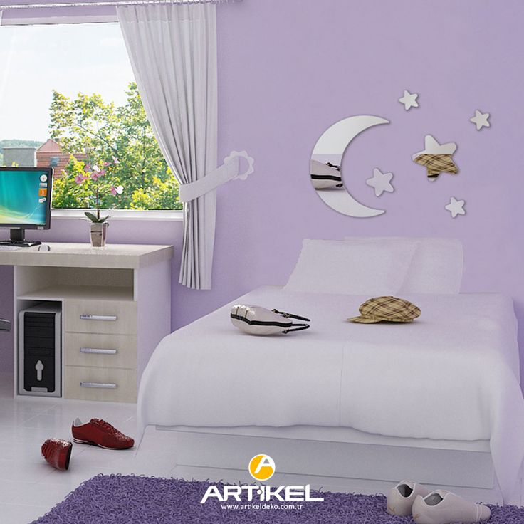 """Küçük boyutlu desenlere sahip dekoratif aynalar, çocuk odası için en şık dekor ürünleri arasındadır... """"Turc Star"""" Ayna Sticker stoklarımızda.. #dekoratifayna #çocukodası"""
