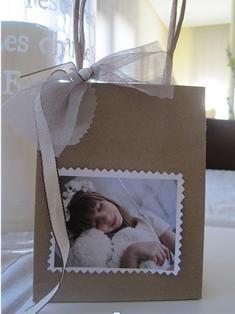 Bolsa con foto primera comunión. Ideas originales para celebrar la primera comunión
