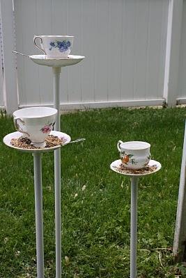 The Random Mrs.: Teacup Bird Feeders