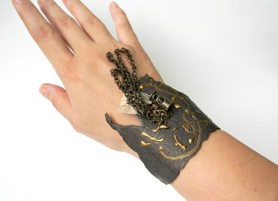 Metallic Leather Cuff with chains Steampunk Wrist by Elyseeart