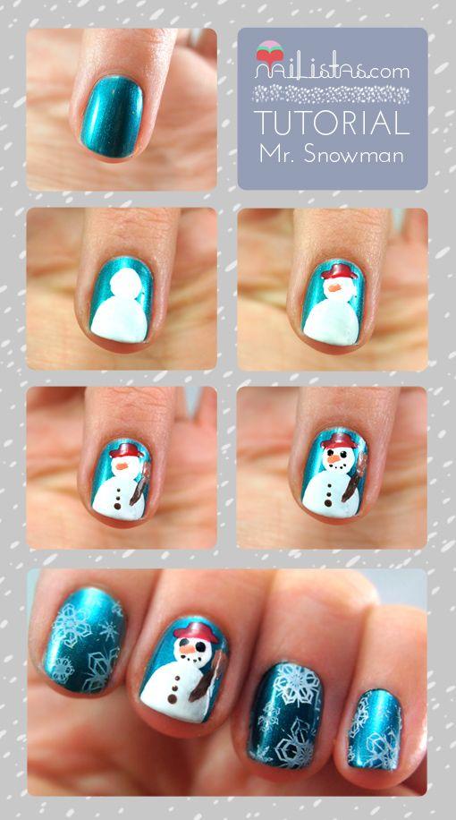 Mr Snowman Tutorial // Tutorial muñeco de nieve paso a paso en las uñas //