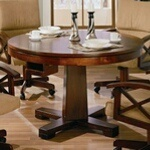 5 pc walnut brown finish wood game room table , poker, bumper pool, dining - A.M.B. Furniture & Design