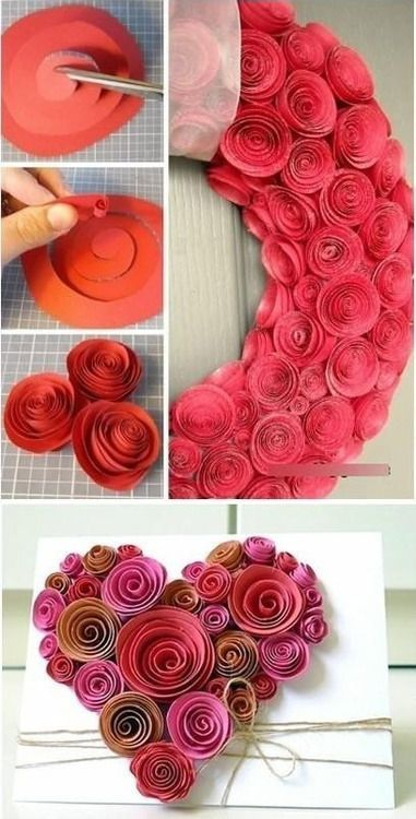 paper roses. Here's the tute! Also, I saw these as a packaged craft at Michael's the other day, but cut sort of scalloped--just an uneven spiral, really. That would add a more petaled appearance. Easy peasy!