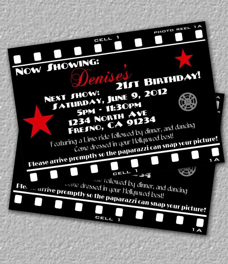 Außergewöhnlich Hollywood Invitation, Printable Movie Invitation. $12.00, Via Etsy.