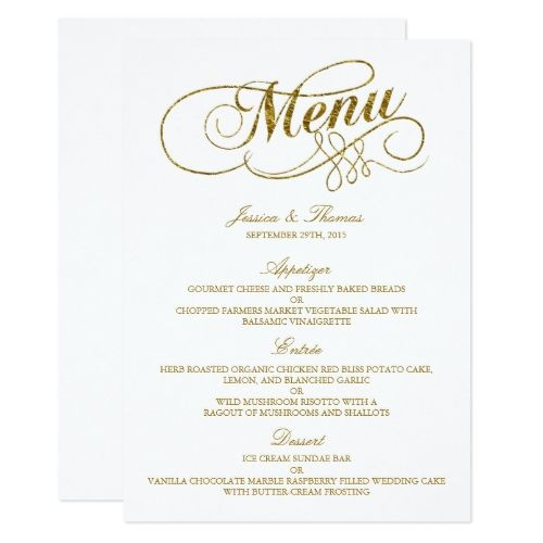 chic faux gold foil wedding menu template